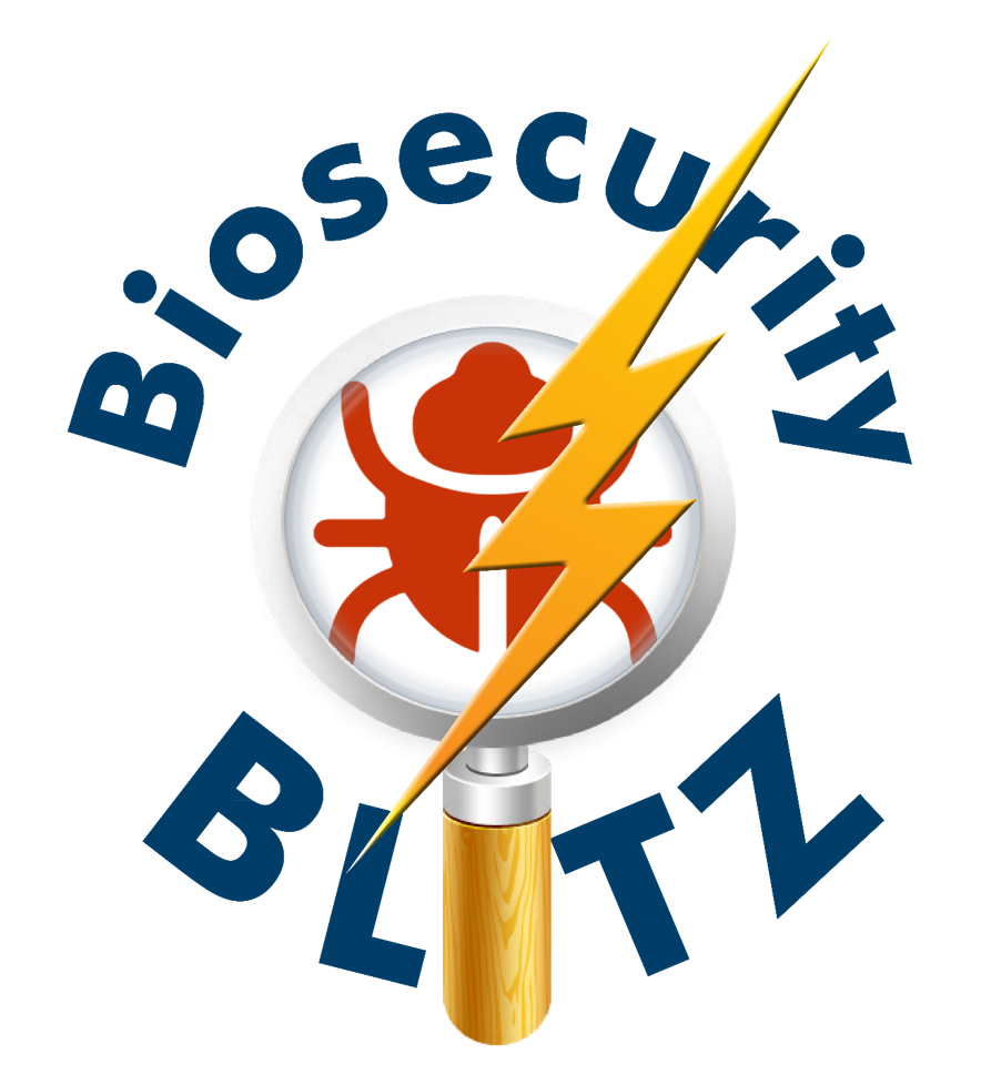 Biosecurity blitz logo with magnifying glass and lightning bolt