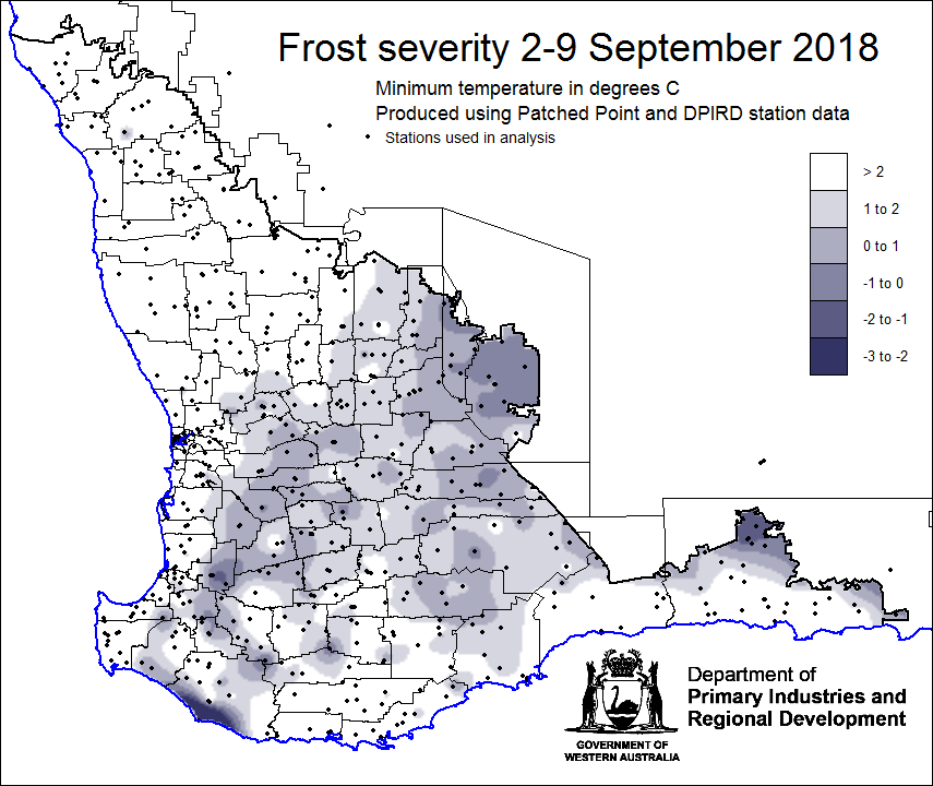 Map Of Western Australia 26th Parallel.2018 Frost Trials And Seasonal Information Agriculture And Food