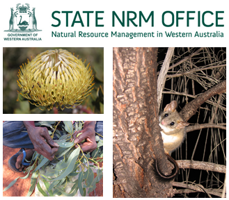 State NRM Logo with picture of volunteers, fauna and flora