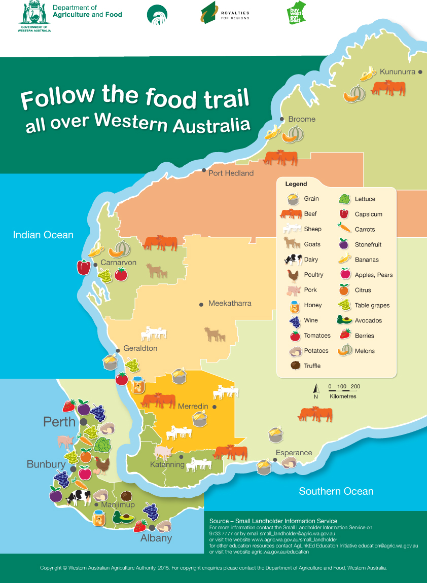 Where food is produced in western australia food map agriculture map for schools showing western australias main food production areas gumiabroncs Image collections