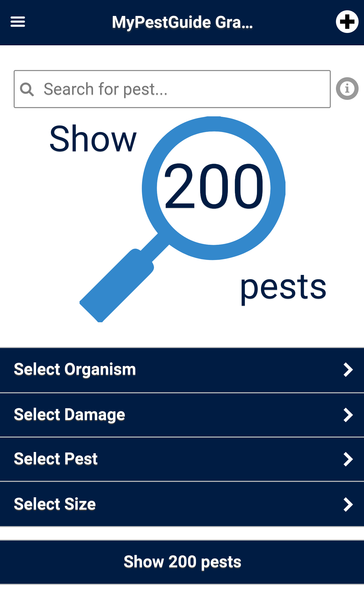 Search from 156 pests by damage or pest
