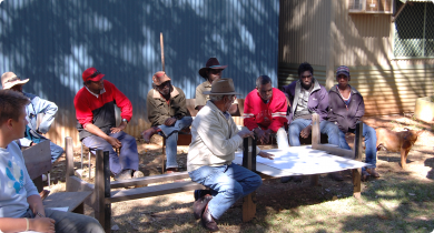 Kimberley Indigenous landholders sitting around discussing the business