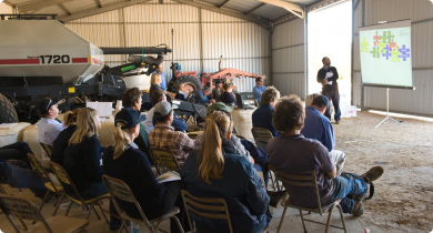 Grain industry workshop in a large shed