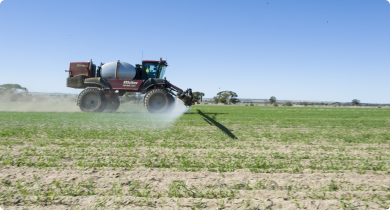 Self propelled boom spray in action