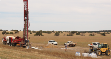 Drilling in the upper region of the Capitela Valley near New Norcia