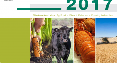 Document cover featuring images of carrots, cattle, crayfish and a field of wheat being harvested