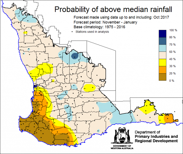 SSF forecast of probability of exceeding median rainfall for November 2017 to January 2018. Indicating a neutral chance of receiving median rainfall for the majority of the South West Land Division. With lower chance (less than 40%) for the south-west cor