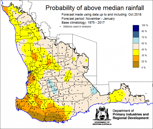 SSF forecast of the probability of exceeding median rainfall for November 2018 to January 2019 using data up to and including October. Indicating a drier than normal outlook (less than a 40% chance) of receiving above median rainfall for northern grainb