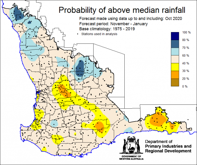 SSF forecast of the probability of exceeding median rainfall for November 2020 to January 2021 using data up to and including October. Indicating mixed chances of exceeding median rainfall for the majority of the South West Land Division.