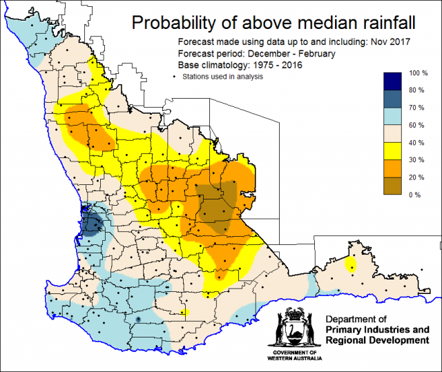 SSF forecast of probability of exceeding median rainfall for summer, December 2017 to February 2018. Indicating less than 40% chance of receiving median rainfall for the majority of the wheatbelt, and higher chances (above 60%) for the south-west corner a