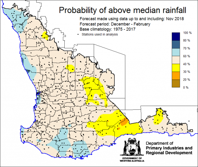 SSF forecast of the probability of exceeding median rainfall for December 2018 to February 2019 using data up to and including November. Indicating generally neutral chance of the Southwest Land Division receiving above median rainfall for summer.