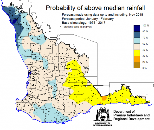 SSF forecast of the probability of exceeding median rainfall for January to February 2019 using data up to and including November. Indicating generally neutral chance of the Southwest Land Division receiving above median rainfall.