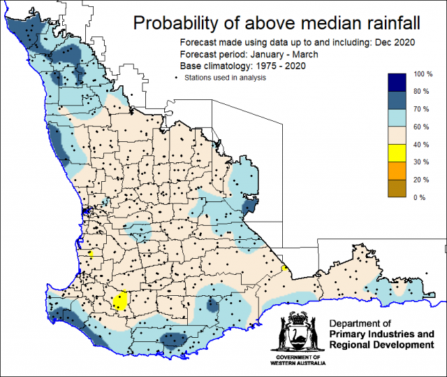 SSF forecast of the probability of exceeding median rainfall for January to March 2021 using data up to and including December. Indicating above 40% chance of exceeding median rainfall for the majority of the South West Land Division.