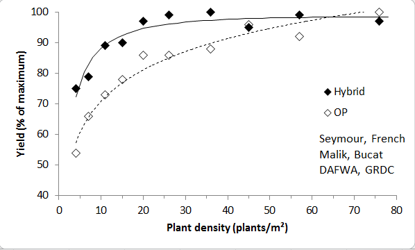Low plant density reduces yields of open pollinated canola more than hybrid canola