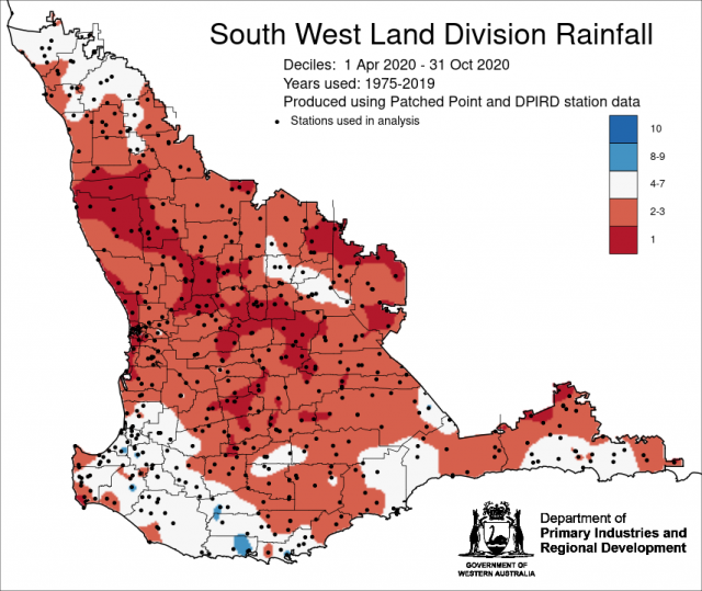 Rainfall deciles for 1 April to 31 October 2020 in the South West Land Division. Indicating below average rainfall for the majority of the SWLD.
