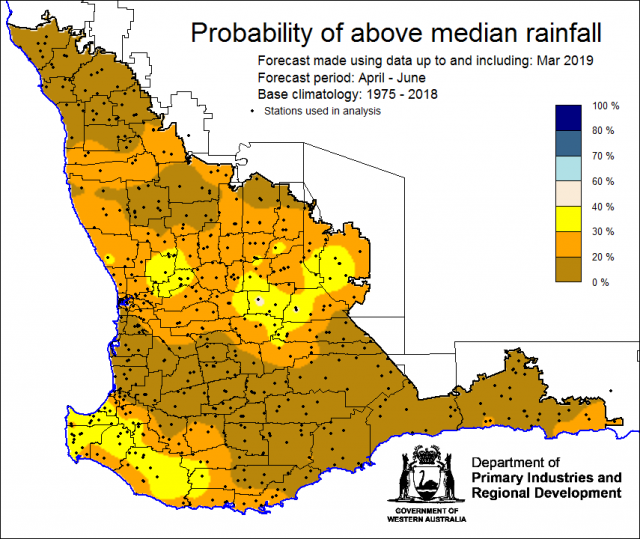 SSF forecast of the probability of exceeding median rainfall for April to June using data up to and including March. Indicating less than 40% chance of the Southwest Land Division receiving above median rainfall.