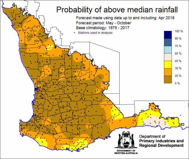 SSF forecast of the probability of exceeding median rainfall for May to October 2018. Indicating less than 40% chance of receiving median rainfall for the grainbelt.