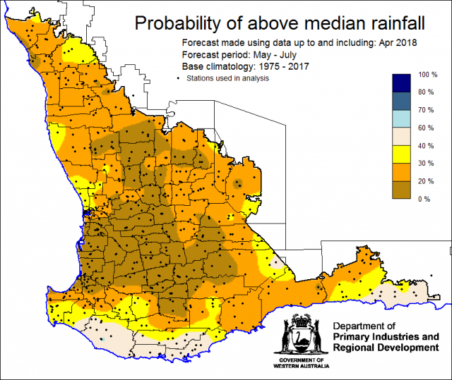 SSF forecast of the probability of exceeding median rainfall for May to July 2018. Indicating a drier than normal outlook (less than 40% chance) of receiving median rainfall for the grainbelt