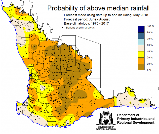 SSF forecast of the probability of exceeding median rainfall for June to August 2018. Indicating a drier than normal outlook (less than 40% chance) of receiving median rainfall for the grainbelt