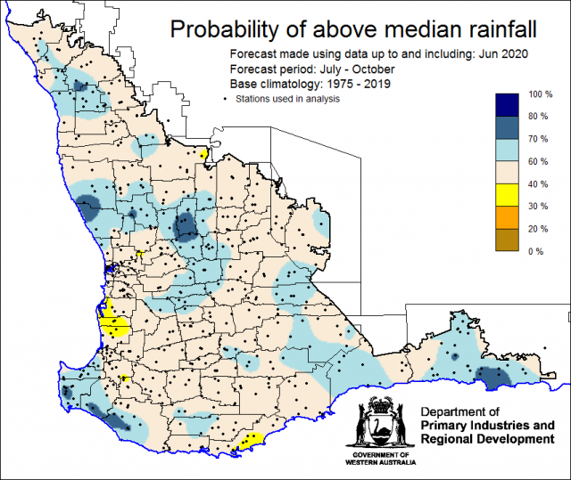 SSF forecast of the probability of exceeding median rainfall for July to October 2020 using data up to and including June. Indicating neutral chance of exceeding median rainfall for the majority of the South West Land Division.