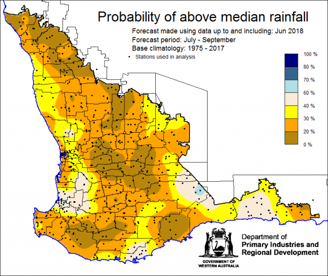 SSF forecast of the probability of exceeding median rainfall for July to September 2018. Indicating a drier than normal outlook (less than a 40% chance) of receiving median rainfall for the grainbelt.