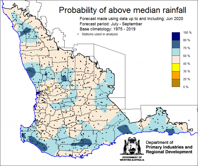 SSF forecast of the probability of exceeding median rainfall for July to September 2020 using data up to and including June. Indicating above 40% chance of exceeding median rainfall with wetter chances in the south and parts of the north.
