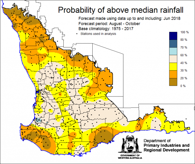 SSF forecast of the probability of exceeding median rainfall for August to October 2018 using data up to and including June. Indicating less than a 40% chanceof receiving median rainfall for the northern and southern grainbelt.