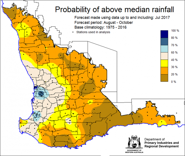 SSF forecast of probability of exceeding median rainfall for August to October 2017 indicating 0-30% chance of exceeding median rainfall for the majority of the wheatbelt.