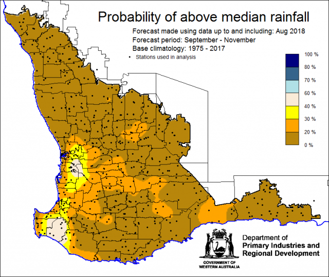 SSF forecast of the probability of exceeding median rainfall for September to November 2018 using data up to and including August. Indicating a drier than normal outlook (less than a 30% chance) of receiving median rainfall for the grainbelt.