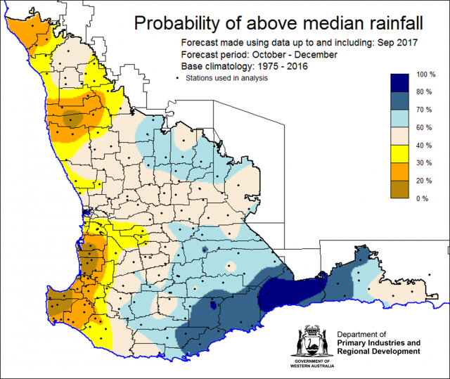 SSF forecast of probability of exceeding median rainfall for October-December 2017. Indicating mixed chance of exceeding median rainfall with low chance less than 40% for south-west corner and western parts of the northern wheatbelt. Eastern and southern