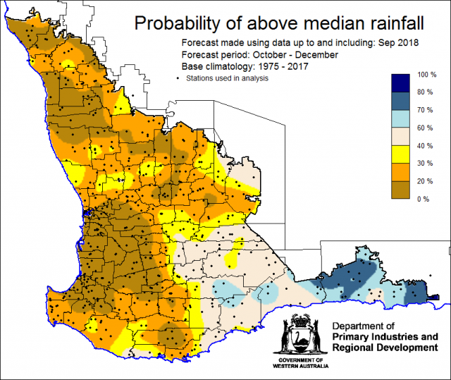 SSF forecast of the probability of exceeding median rainfall for October to December 2018 using data up to and including September. Indicating a drier than normal outlook (less than a 30% chance) of receiving median rainfall for the majority of the Southw