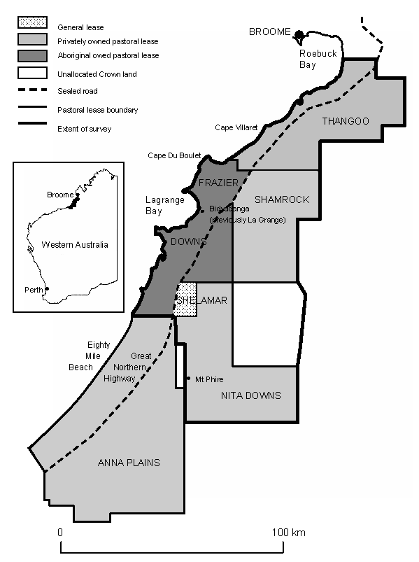 Line drawing of the survey location area near Broome, Western Australia