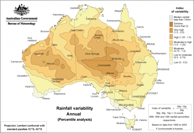 Map showing areas of varying annual rainfall variability