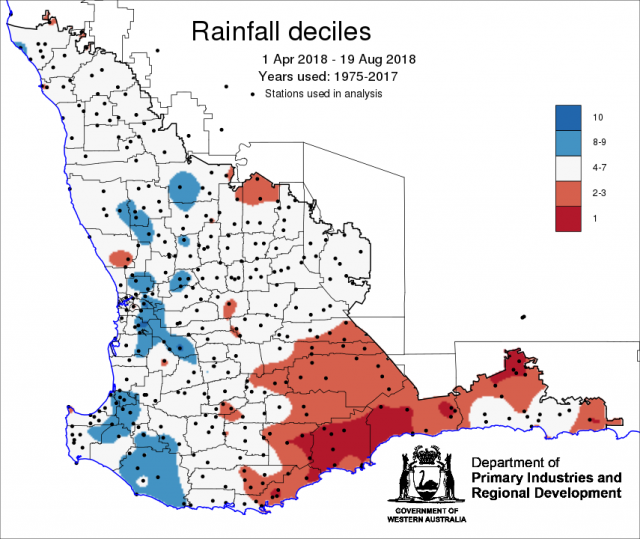 Map of Western Australia showing rainfall as deciles for 1 April to 19 August 2018