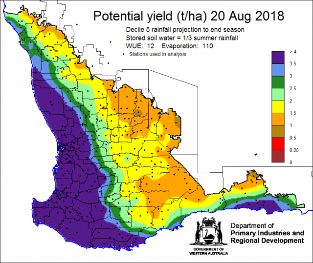 Map of Western Australia showing potential crop yield in tonnes per hectare at 20 August 2018
