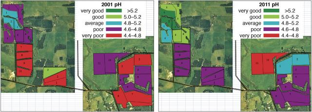 Alan Hawley's mapping of the pH status of his farm shows a clear improvement from 2001 to 2011.