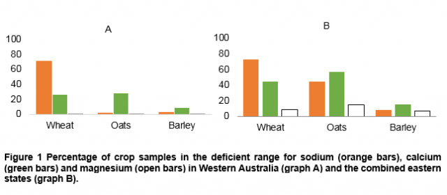 Percentage of crop samples in the deficient range for sodium,  calcium  and magnesium in WA (graph A) and the combined eastern states