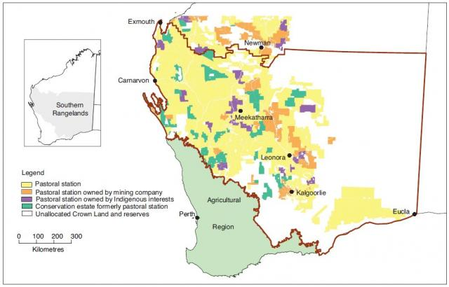 Map showing land tenure in the Southern Rangelands, as at June 2016