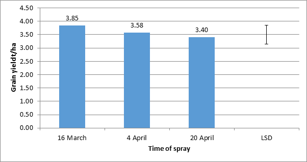 Trojan grain yield on time of weed removal trial