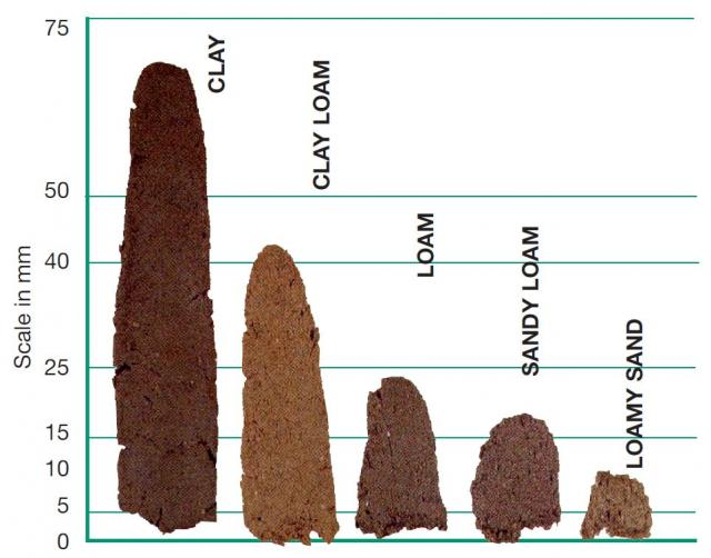 Chart showing the length of an extruded soil ribbon and the estimated soil texture