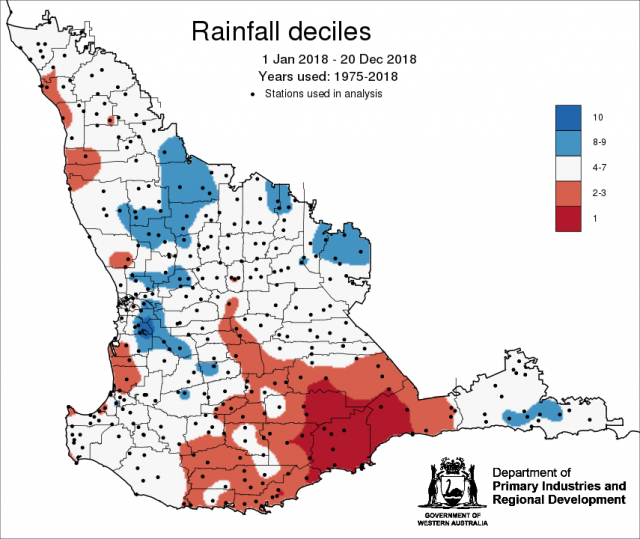 Rainfall decile map for January to December 2018 for the South West Land Division, indicating rainfall decile 1 for some parts of the southern grainbelt.