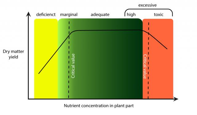 Dry matter yield increases as concentration in plant part increases, but then plateaus before decreasing at toxic concentrations