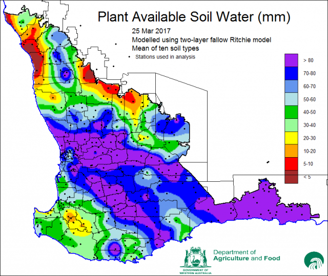 Figure 1 Plant available soil water at March 25 2017, modelled by Fiona Evans, eConnected Grainbelt project DAFWA