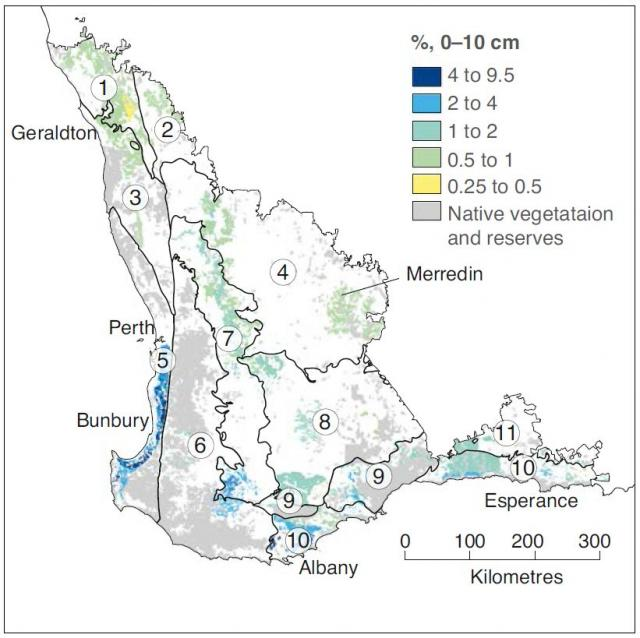 Map of the agricultural area of Western Australia showing soil organic carbon concentrations in known areas