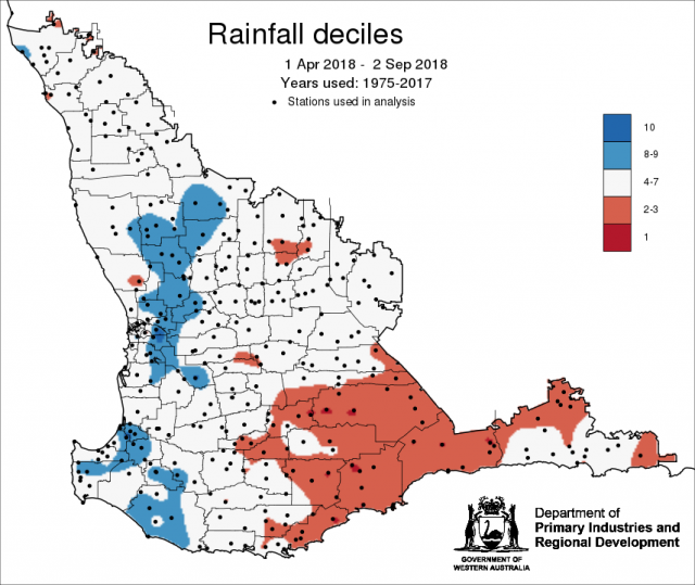 Rainfall decile map for 1 April to 2 September 2018 shows large parts of the grainbelt has received greater than decile 4 rainfall, but the southern grainbelt and northern Esperance region has received between decile 2-3 rainfall.