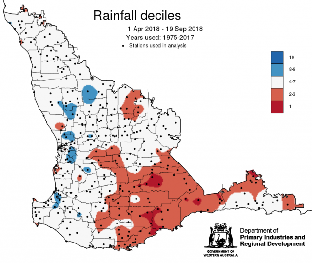 Rainfall deciles from 1 April to 19 September 2018, indicating lower rainfall in southern parts of the grainbelt.