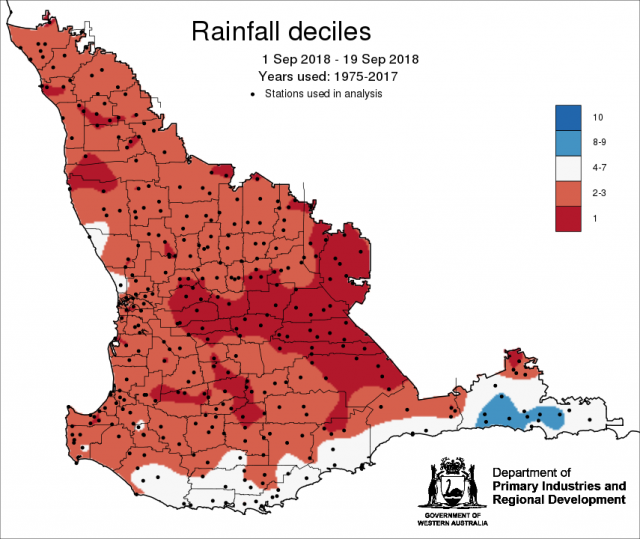 Rainfall deciles from 1 September to 19 September showing below average rainfall for most of the grainbelt.