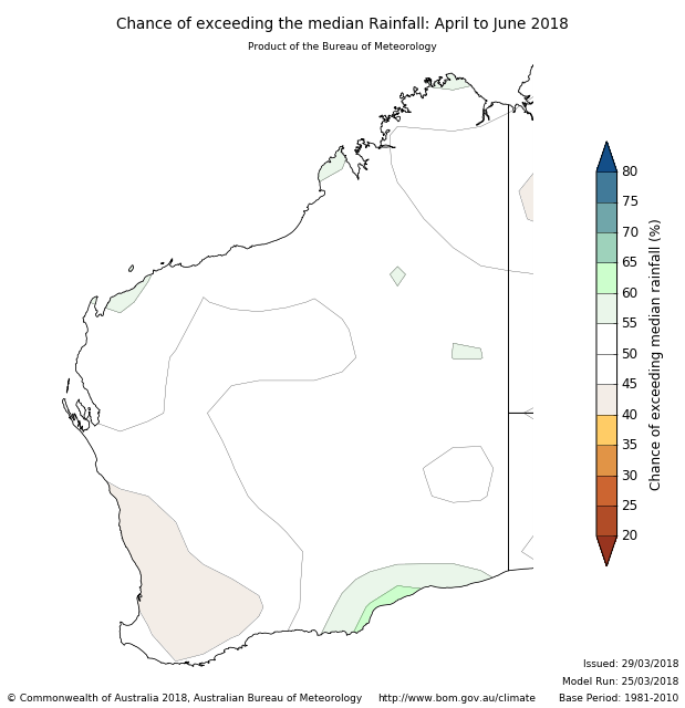 Rainfall outlook for April to June 2018 for Western Australia from the Bureau of Meteorology. Indicating generally a neutral outlook with drier conditions expected in the northern region.