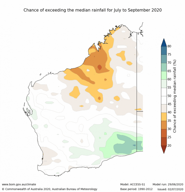 Rainfall outlook for July to September 2020 for Western Australia from the Bureau of Meteorology, indicating a neutral outlook for the SWLD.