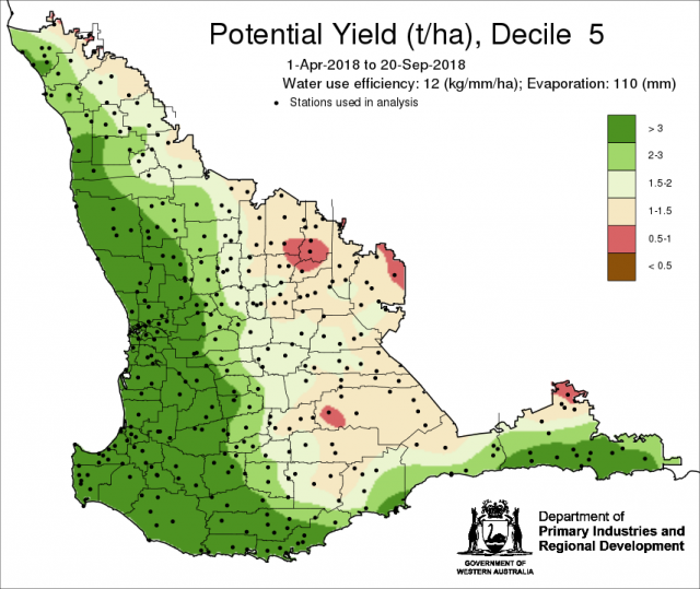 Potential yield map to 20 September showing potential yield in the grainbelt.